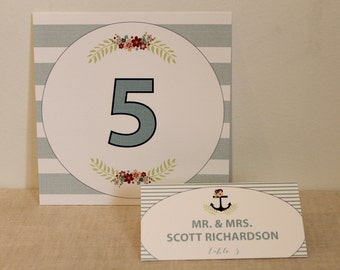 Floral Nautical Table and Escort Card