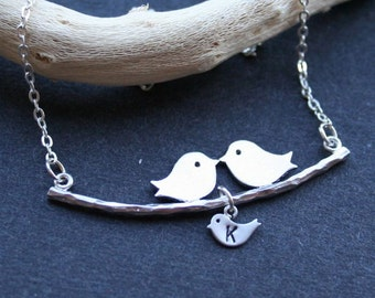 Bird Initial Necklace, Bird on Branch Initial Necklace, Three Birds, Mother Child Necklace, Family, Love Necklace, Sterling Silver