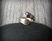 Dandelion birthstone ring, sterling silver