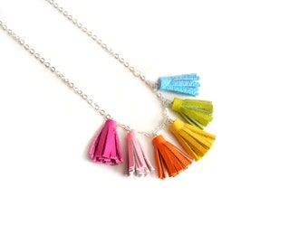Rainbow Tassel Necklace, Colorful Small Necklace, Leather Fringe Necklace, Geometric Necklace, Modern Simple Minimal Necklace