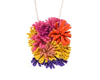 Leather Statement Necklace, Pink Orange Yellow and Purple Fringe Flower Necklace, Furry Shag Fiber Art Jewelry, Geometric Jewelry