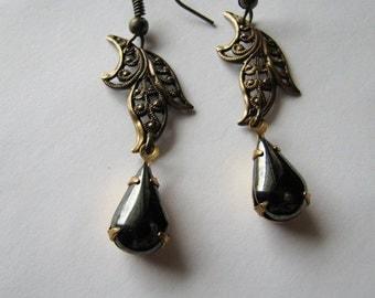Filigree earrings | leaf | brass dangle | drop earrings | black teardrop | nature inspired