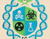 Mad Scientist Crest Embroidered Cotton Kitchen Towel, Science Design