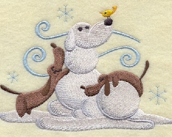 Build-a-Snowpal - Weiner Dogs Embroidered White Towel or Quilt Block Square