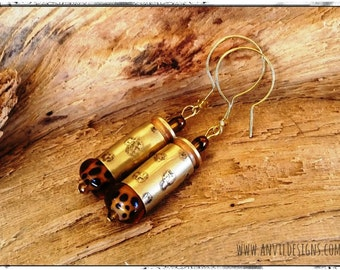 Leopard Earrings, Etched Brass, Bullet Jewelry, Sassy n Classy, Smith & Wesson, Winchester, Lampwork Glass, Cut Crystal, Cowgirl, NRA Style