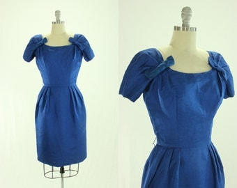 1950's Suzy Perette Cocktail Dress XS S Cobalt Blue Designer Bows