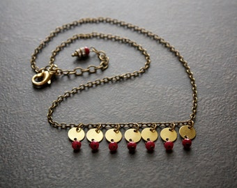 Petite Brass Coin Necklace with Faceted Ruby Quartz Rondelles