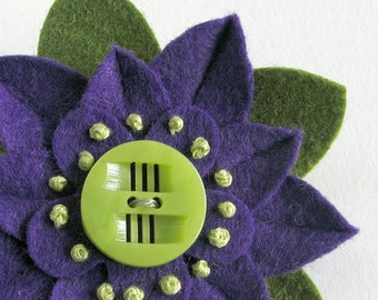 Purple and Green Felt Flower Pin with Chartruese Deco Vintage Button and French Knots