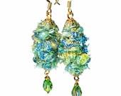 Unique Fuzzy Fiber Art Earrings, Wire Wrapped Jewelry,  Artsy, Handmade