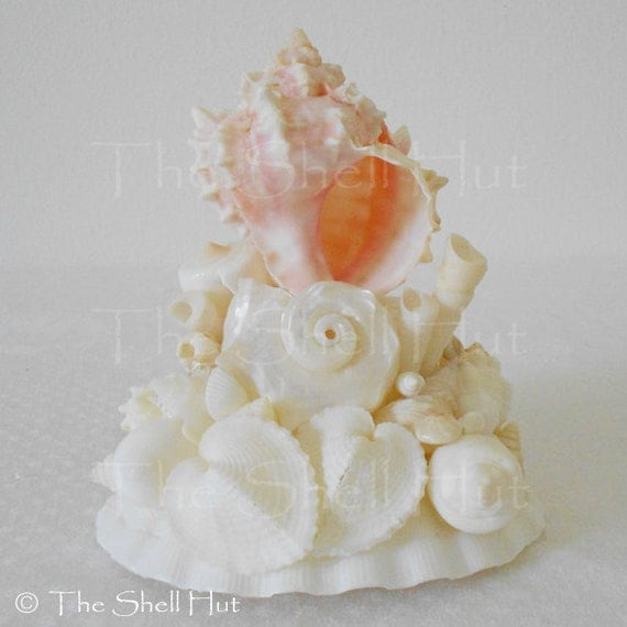 items similar to seashell wedding cake top topper beach bride tropical shell arrangement ooak on. Black Bedroom Furniture Sets. Home Design Ideas