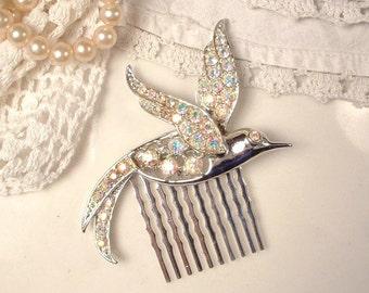 SALE Rhinestone Bird Hair Comb, AB Bridal Hair Accessory, Vintage Brooch to Silver Crystal HairPiece, Garden / Woodland Wedding Bridesmaid