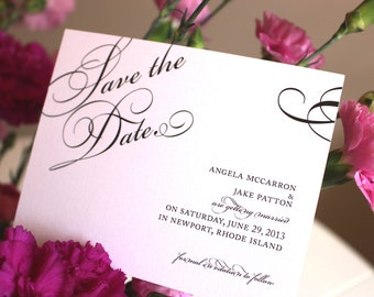 Save the Date Wedding Cards - Once Charmed Black and White Sample