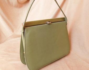 RARE COLOR... Vintage 60's Olive Green Handbag, Structured, Top Handle Kelly Bag Style, Rockabilly, Mad Men, VLV
