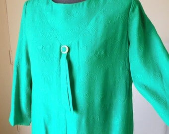 LAST CHaNCE SALE Vintage 60's Trapeze Dress, MOD Bright Kelly Green Swing Dress, Size Large, Bust 40