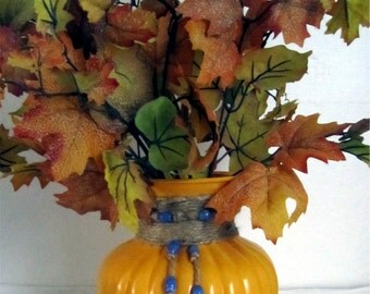 Large MARIGOLD GLASS VASE With Jute Trim and Blue Color Cramic Beads  by Valsunique