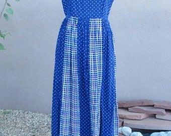 Vintage 1980s - Cotton Sleeveless Blue Summer Dress