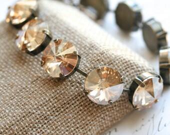 Champagne Bracelet, Swarovski Crystal Bracelet, Crystal Bracelet, Rivoli Bracelet
