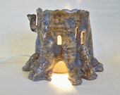 Tree Stump Fairy House Night Light - also for the Garden - Handmade on the Potters Wheel - Larger Size