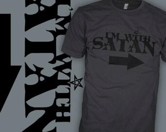 I'm With Satan Shirt - Kustom Kulture Shirt - Satanic Pentagram Funny Art T-Shirt - FREE SHIPPING