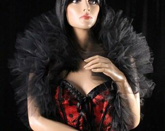 Fancy tulle boa all black tie on should wrap bolero adult tutu shrug gothic halloween burlesque -- Enchanted