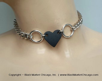 BDSM  Day Collar Locking LEATHER HEART Submissive Choker Necklace Dual Rings Silver-Plate and Stainless Steel Chain Heart Padlock or Lobster