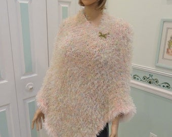 HAND Knitted Poncho, pastel colored yarns, hand knitted in fun fur and worsted weight, Trimmed in pink fun fur