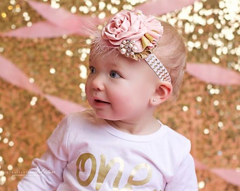 Phoebee-vintage pink and gold sparkle ruffle and rose headband