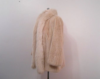 1980's Fox Collar Mink Coat 1940's Style Old Hollywood Glamour Vintage Mink & Fox Fur Jacket Fur Coat Buff White Mink Fur Stroller Coat S M