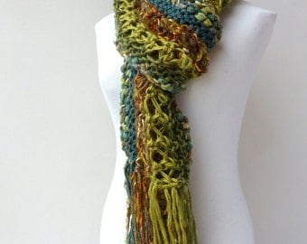 Green knit scarf - chunky green scarf - Unique hand knitted scarves