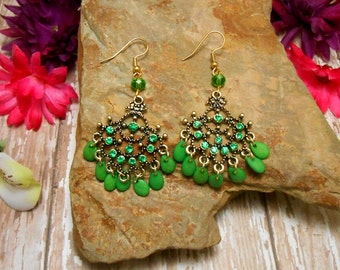 Green Bohemian Chandelier Earrings - Clearance - Belly Dance Earrings - Green Earrings