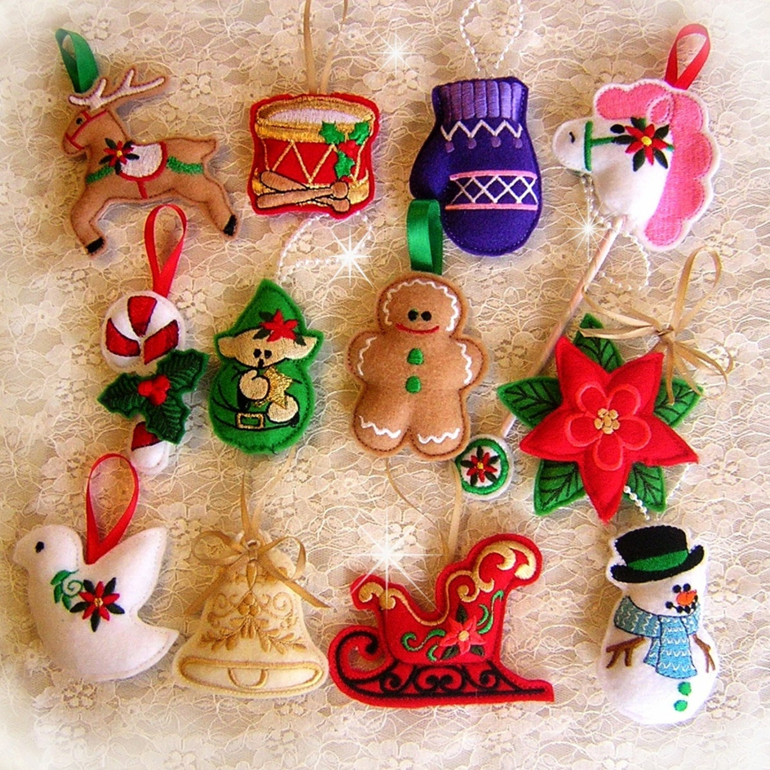 Felt Ornament Collection Machine Embroidery Designs