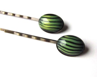 Vintage Glass Bobby Pins, Green and Black Tiger Stripes