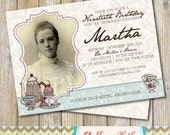 Vintage High Tea 90th Birthday Party Invitation with Picture - DIY Printable  / High Tea / Vintage / Tea Cup / 90th Birthday