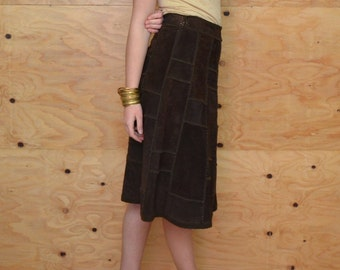Vintage 70's Skirt Brown Suede Knit Patchwork A-line Midi Buttons SZ M