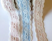 Vintage White Lace and Lame Trim ~ Metallic Lame in  Pink, Blue and Peach ~ 1 Yard ~ 1.25 inch wide ~ Lace and Lame trim Ribbon ~ Feminine