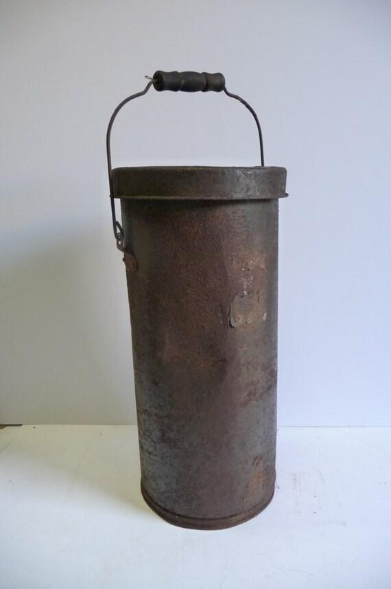 Antique cream can milk tin metal tall bucket w handle wood for Old metal buckets