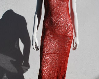 Vintage 20's sheer RED lace  long formal dress sexy flapper ART DECO jazz age gown sM thekaliman