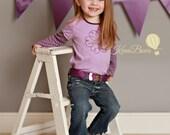 Girl Headband - Child Belt - Purple Glitter Heart - Embroidered Pink - Birthday Gift
