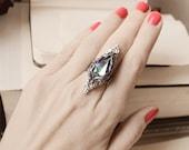 Lady Nebula Aged Silver and Swarovski Ring - Purple - Pink - Silver - Victorian - Fantasy - Unique - Winter - Valentines Day - Bridal