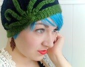 From the Depths- Lovecraftian Cloche - Hand knit vintage style hat