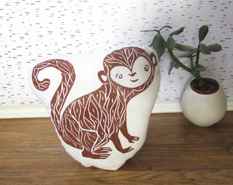 Plush Monkey Pillow. Hand Woodblock Printed. Choose Any Color. Made to Order.