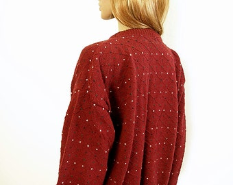 Men's Vintage Sweater 1980s Rich Cranberry Red Soft Knit Pullover Sweater / Medium