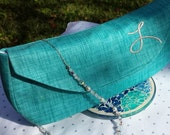 Custom Embroidered Metallic Initial Navy Teal Pink Grey Bridal Clutch