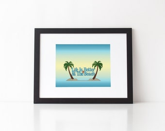 Life is Better At The Beach typography print, mixed media nautical art, typography art, choice of print sizes and finish in aqua, yellow