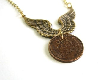 flying penny necklace . wheat penny necklace . lucky penny jewelry . good luck in flight . gold wings necklace