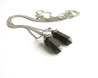 mens pyrite pendulum necklace
