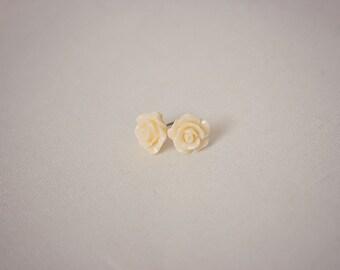 Handmade Ivory Rose Earrings Ivory Resin Flower Post Earrings Ivory Flower Earrings Ivory Post Earrings Ivory Earrings