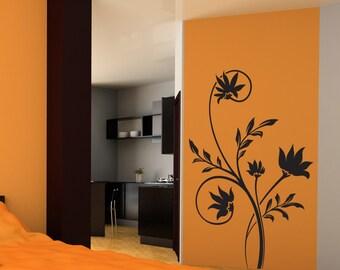 Vinyl Wall Decal Sticker Spiky Flowers Vine 1509m