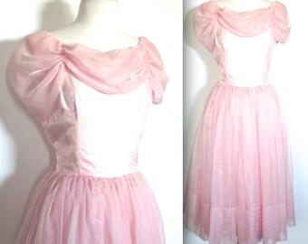 Vintage 1950's Dress // 50s Powder Pink Chiffon Party Prom Dress // Cupcake Dress // DIVINE