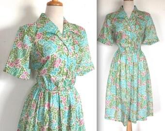 Vintage 1960's Dress // 60s Green Floral Day Dress // Springtime Shirt Dress // DIVINE